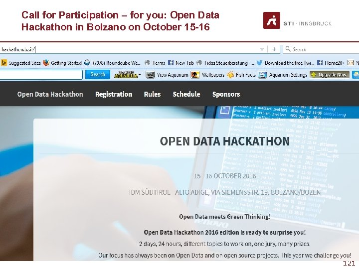 Call for Participation – for you: Open Data Hackathon in Bolzano on October 15