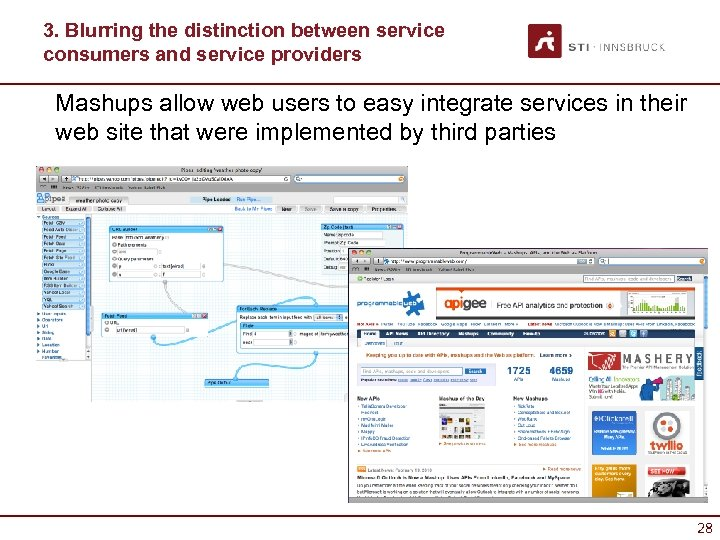 3. Blurring the distinction between service consumers and service providers Mashups allow web users