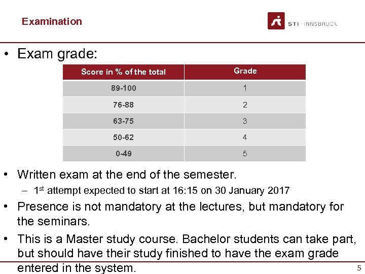 Examination • Exam grade: Score in % of the total Grade 89 -100 1