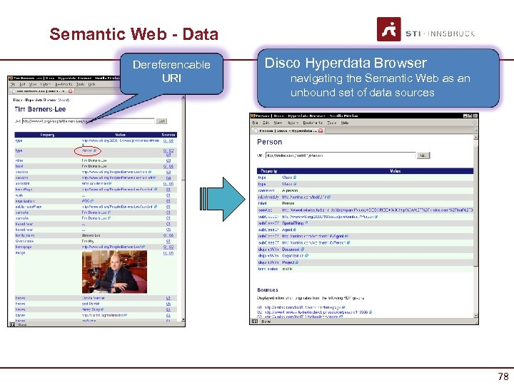 Semantic Web - Data Dereferencable URI Disco Hyperdata Browser navigating the Semantic Web as
