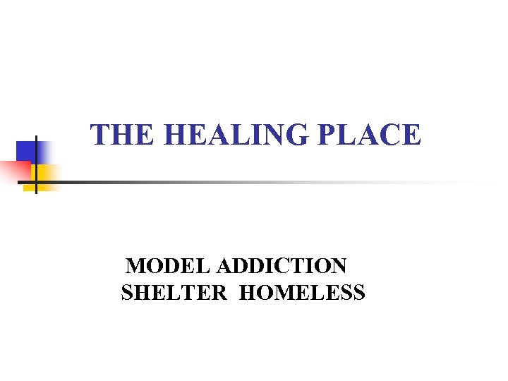 THE HEALING PLACE MODEL ADDICTION SHELTER HOMELESS