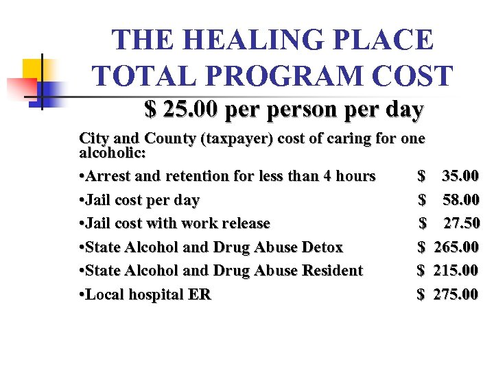 THE HEALING PLACE TOTAL PROGRAM COST $ 25. 00 person per day City and