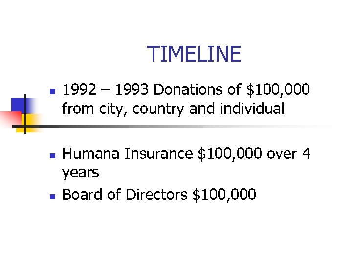 TIMELINE n n n 1992 – 1993 Donations of $100, 000 from city, country