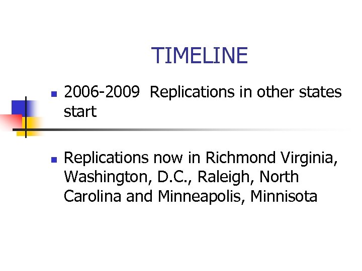 TIMELINE n n 2006 -2009 Replications in other states start Replications now in Richmond
