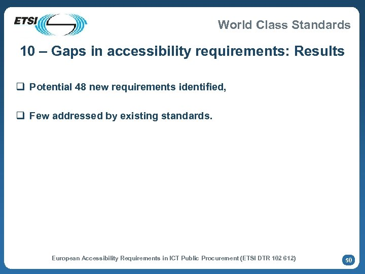 World Class Standards 10 – Gaps in accessibility requirements: Results q Potential 48 new