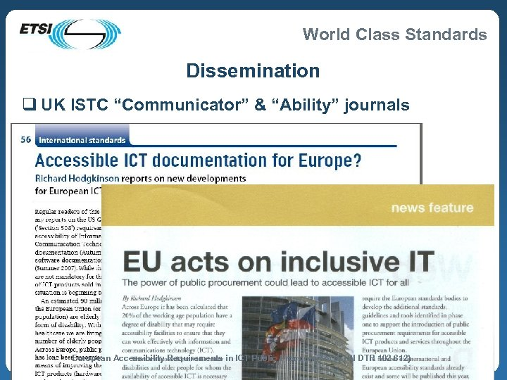 """World Class Standards Dissemination q UK ISTC """"Communicator"""" & """"Ability"""" journals European Accessibility Requirements"""