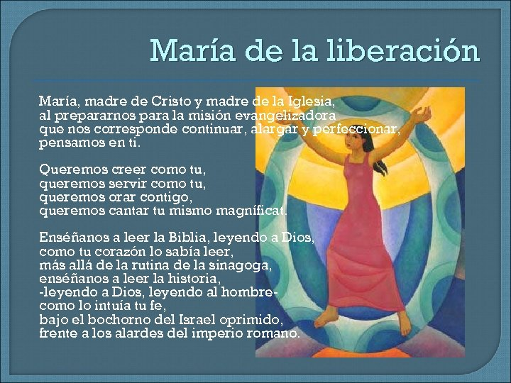 María de la liberación María, madre de Cristo y madre de la Iglesia, al