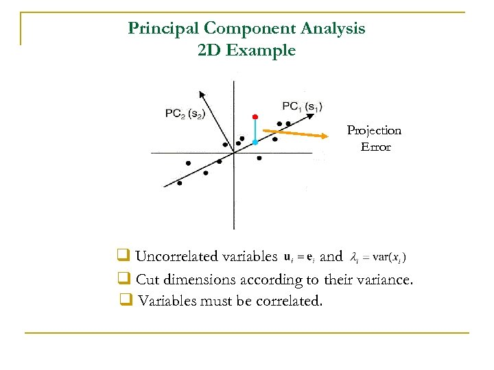 Principal Component Analysis 2 D Example Projection Error q Uncorrelated variables and q Cut