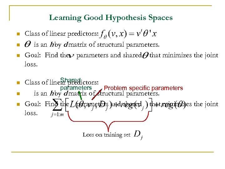 Learning Good Hypothesis Spaces n n n Class of linear predictors: is an h