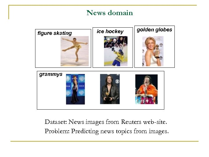 News domain figure skating ice hockey golden globes grammys Dataset: News images from Reuters