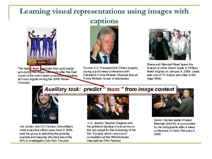 Learning visual representations using images with captions The Italian team celebrate their gold medal