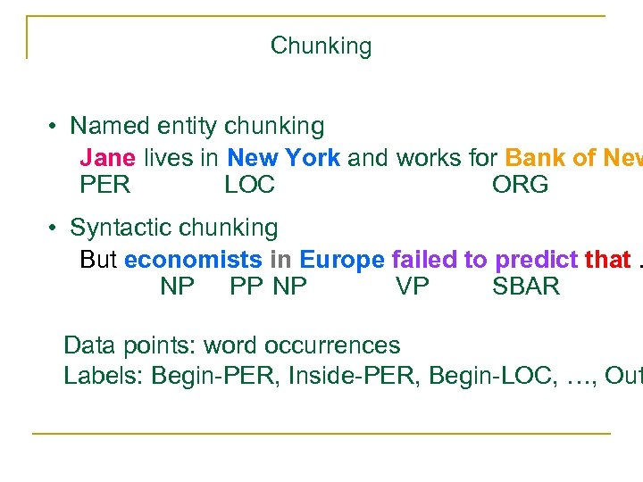 Chunking • Named entity chunking Jane lives in New York and works for Bank