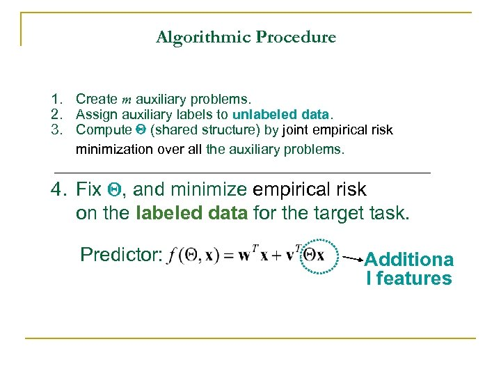 Algorithmic Procedure 1. Create m auxiliary problems. 2. Assign auxiliary labels to unlabeled data.