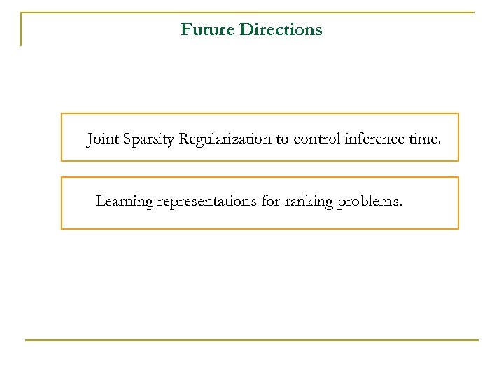 Future Directions Joint Sparsity Regularization to control inference time. Learning representations for ranking problems.