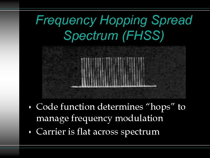 """Frequency Hopping Spread Spectrum (FHSS) s s Code function determines """"hops"""" to manage frequency"""