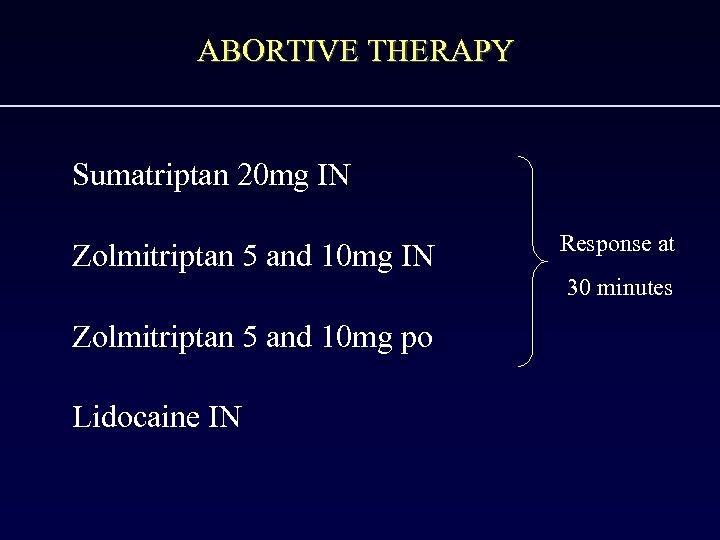 ABORTIVE THERAPY Sumatriptan 20 mg IN Zolmitriptan 5 and 10 mg IN Response at