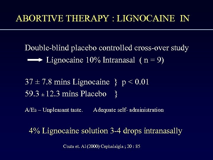 ABORTIVE THERAPY : LIGNOCAINE IN Double-blind placebo controlled cross-over study Lignocaine 10% Intranasal (