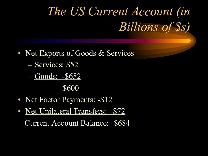 The US Current Account (in Billions of $s) • Net Exports of Goods &