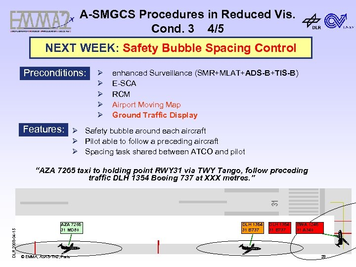 A-SMGCS Procedures in Reduced Vis. Cond. 3 4/5 NEXT WEEK: Safety Bubble Spacing Control