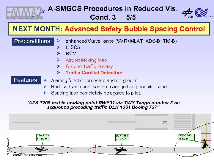 A-SMGCS Procedures in Reduced Vis. Cond. 3 5/5 NEXT MONTH: Advanced Safety Bubble Spacing