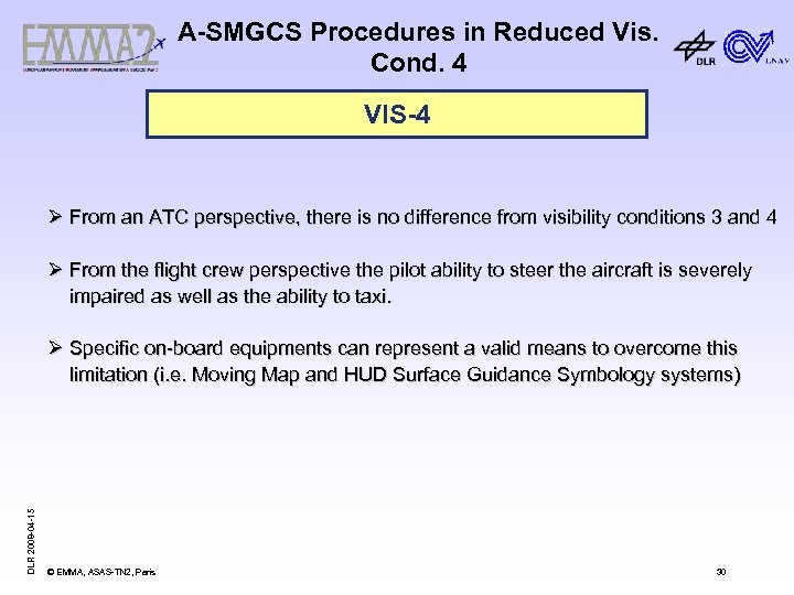 A-SMGCS Procedures in Reduced Vis. Cond. 4 VIS-4 Ø From an ATC perspective, there