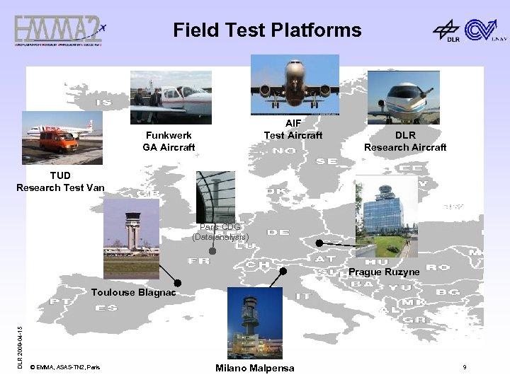Field Test Platforms AIF Test Aircraft Funkwerk GA Aircraft DLR Research Aircraft TUD Research
