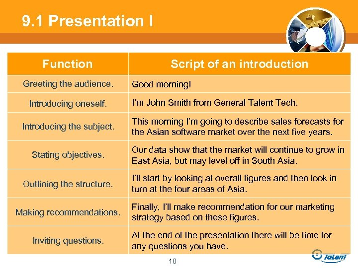 9. 1 Presentation l Function Greeting the audience. Introducing oneself. Script of an introduction