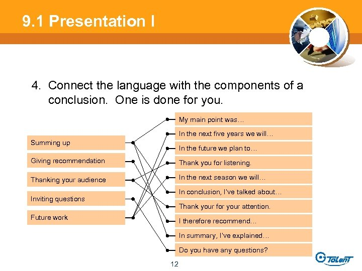 9. 1 Presentation l 4. Connect the language with the components of a conclusion.