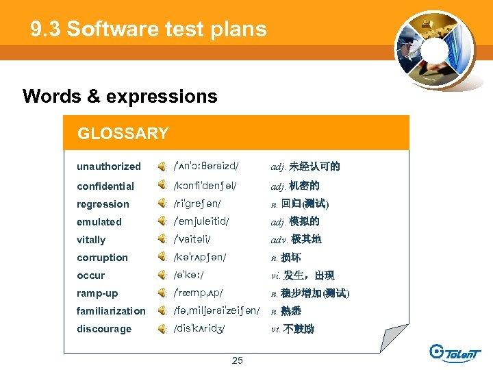 9. 3 Software test plans Words & expressions GLOSSARY unauthorized adj. 未经认可的 confidential adj.