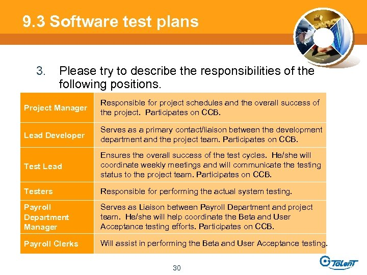 9. 3 Software test plans 3. Please try to describe the responsibilities of the