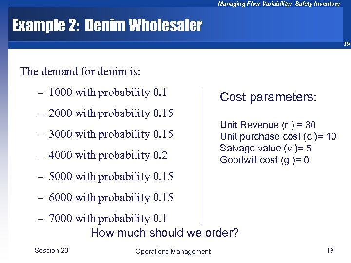 Managing Flow Variability: Safety Inventory Example 2: Denim Wholesaler 19 The demand for denim