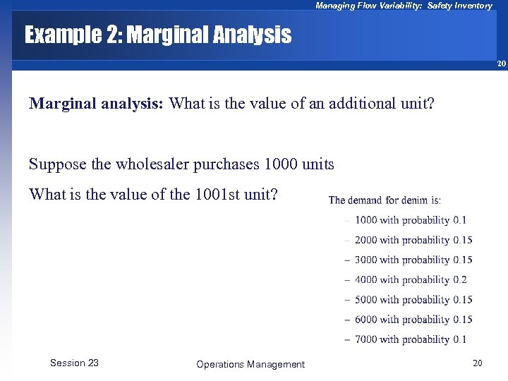 Managing Flow Variability: Safety Inventory Example 2: Marginal Analysis 20 Marginal analysis: What is