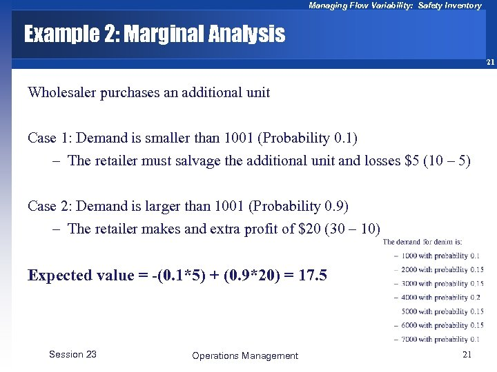Managing Flow Variability: Safety Inventory Example 2: Marginal Analysis 21 Wholesaler purchases an additional