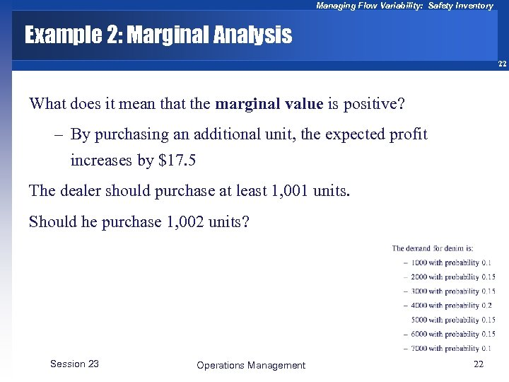 Managing Flow Variability: Safety Inventory Example 2: Marginal Analysis 22 What does it mean