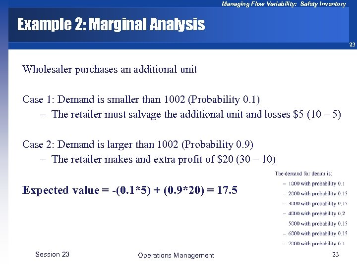 Managing Flow Variability: Safety Inventory Example 2: Marginal Analysis 23 Wholesaler purchases an additional