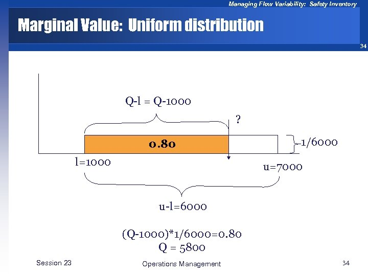 Managing Flow Variability: Safety Inventory Marginal Value: Uniform distribution 34 Q-l = Q-1000 ?