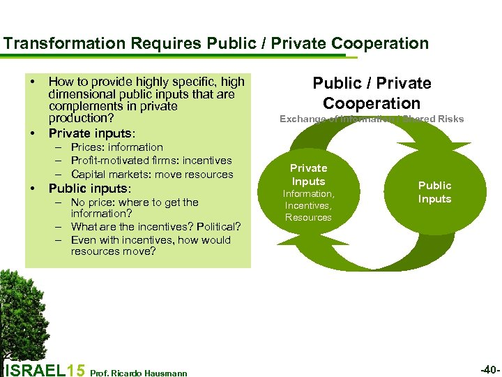 Transformation Requires Public / Private Cooperation • • How to provide highly specific, high