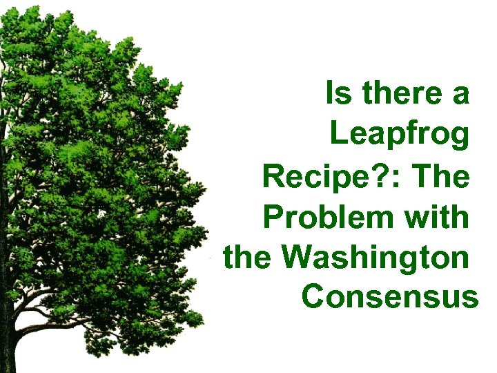 Is there a Leapfrog Recipe? : The Problem with the Washington Consensus