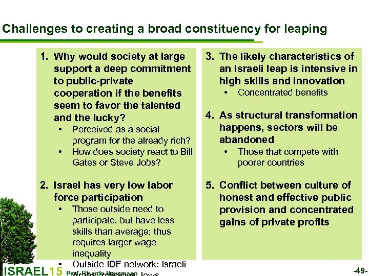Challenges to creating a broad constituency for leaping 1. Why would society at large