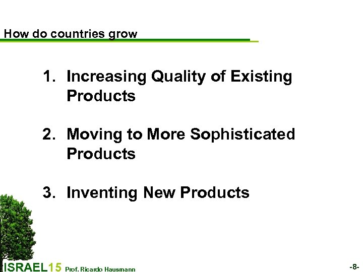 How do countries grow 1. Increasing Quality of Existing Products 2. Moving to More