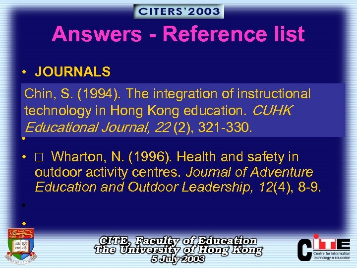 Answers - Reference list • JOURNALS • Chin, S. (1994). The integration of instructional