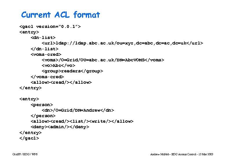 "Current ACL format <gacl version="" 0. 0. 1""> <entry> <dn-list> <url>ldap: //ldap. abc. ac."