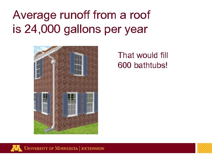 Average runoff from a roof is 24, 000 gallons per year That would fill