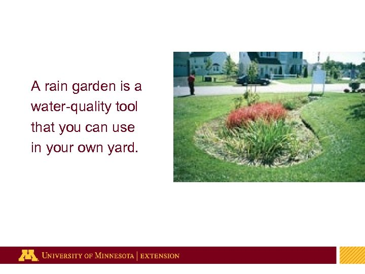 A rain garden is a water-quality tool that you can use in your own
