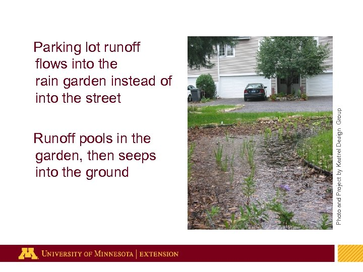 Photo and Project by Kestrel Design Group Parking lot runoff flows into the rain