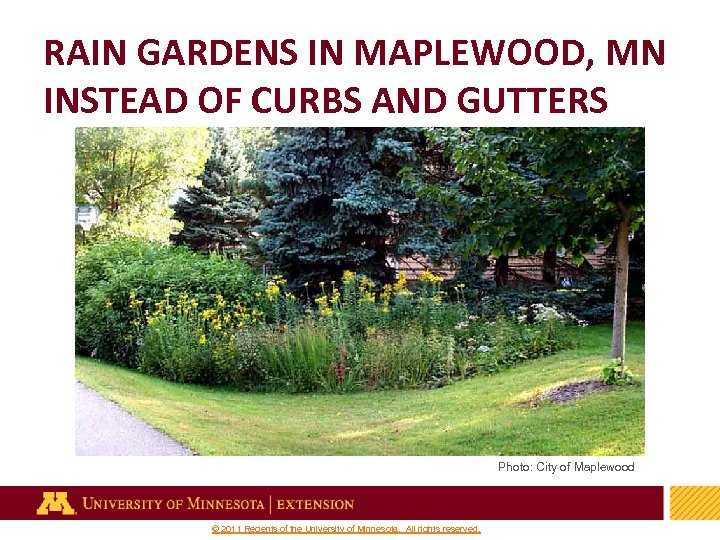 RAIN GARDENS IN MAPLEWOOD, MN INSTEAD OF CURBS AND GUTTERS Photo: City of Maplewood