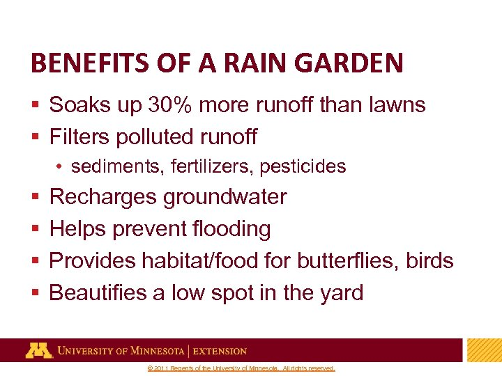 BENEFITS OF A RAIN GARDEN § Soaks up 30% more runoff than lawns §
