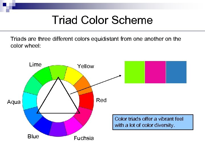 Triad Color Scheme Triads are three different colors equidistant from one another on the