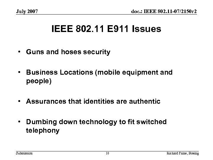 July 2007 doc. : IEEE 802. 11 -07/2150 r 2 IEEE 802. 11 E
