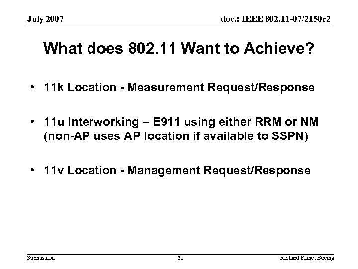 July 2007 doc. : IEEE 802. 11 -07/2150 r 2 What does 802. 11